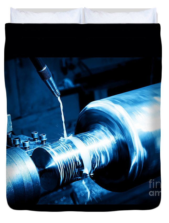 Industry Duvet Cover featuring the photograph Industrial Turning Machine At Work Close-up by Michal Bednarek