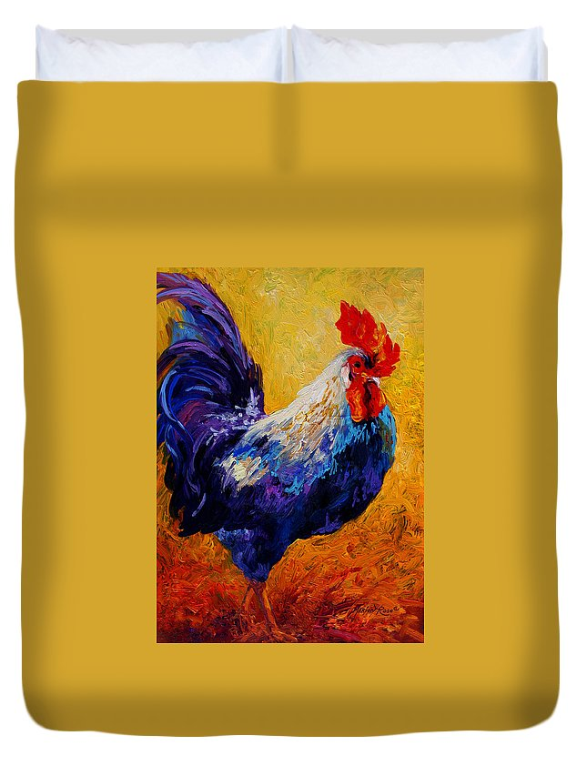 Rooster Duvet Cover featuring the painting Indy - Rooster by Marion Rose