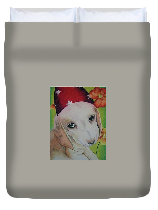 Dog Duvet Cover featuring the pastel Indy by Michelle Hayden-Marsan