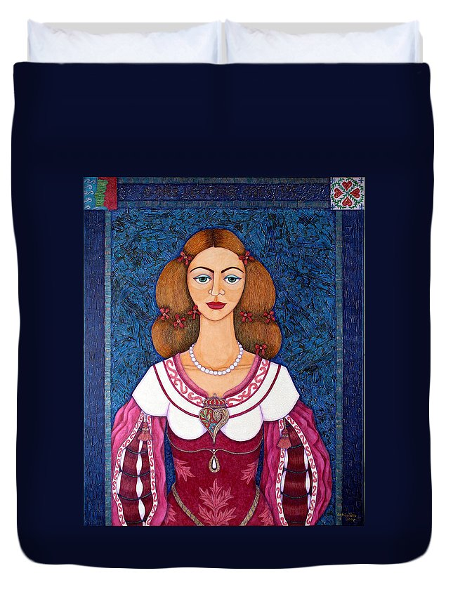 Portrait Duvet Cover featuring the painting Ines De Castro - The Love Crowned by Madalena Lobao-Tello