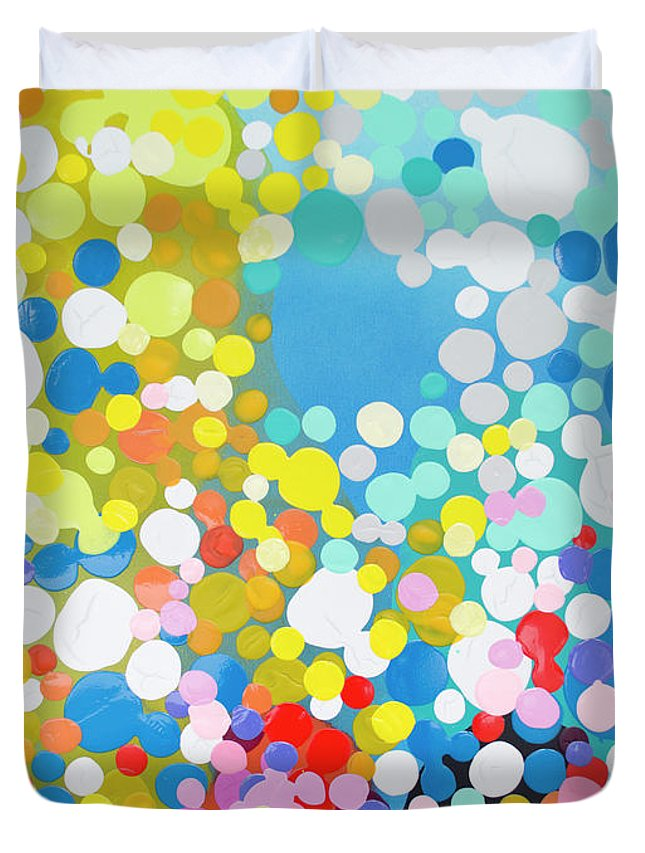 Abstract Duvet Cover featuring the painting Infatuation by Claire Desjardins