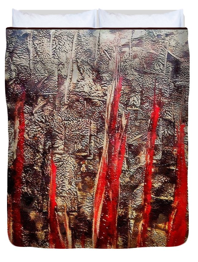 Inferno Duvet Cover featuring the painting Inferno by Dragica Micki Fortuna