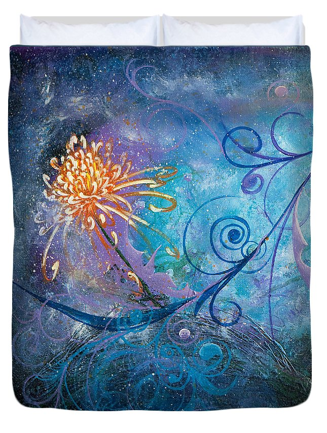 Flowers Duvet Cover featuring the painting Infinity Of Wonders - Side1 by Olga Smith