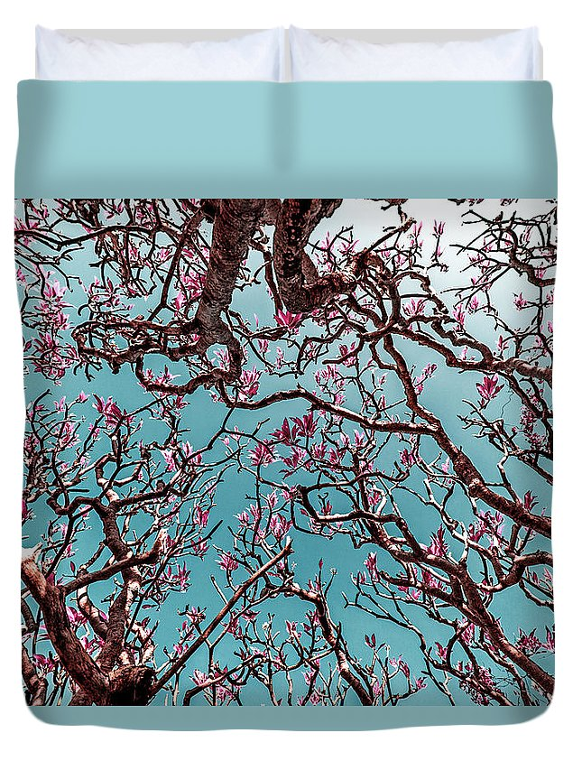 Green Duvet Cover featuring the photograph Infrared Frangipani Tree by Stelios Kleanthous