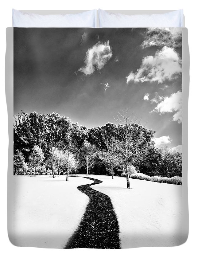 Black And White Duvet Cover featuring the photograph Infrared Parkland by Russ Dixon
