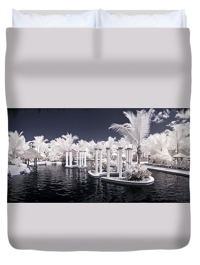 3scape Photos Duvet Cover featuring the photograph Infrared Pool by Adam Romanowicz