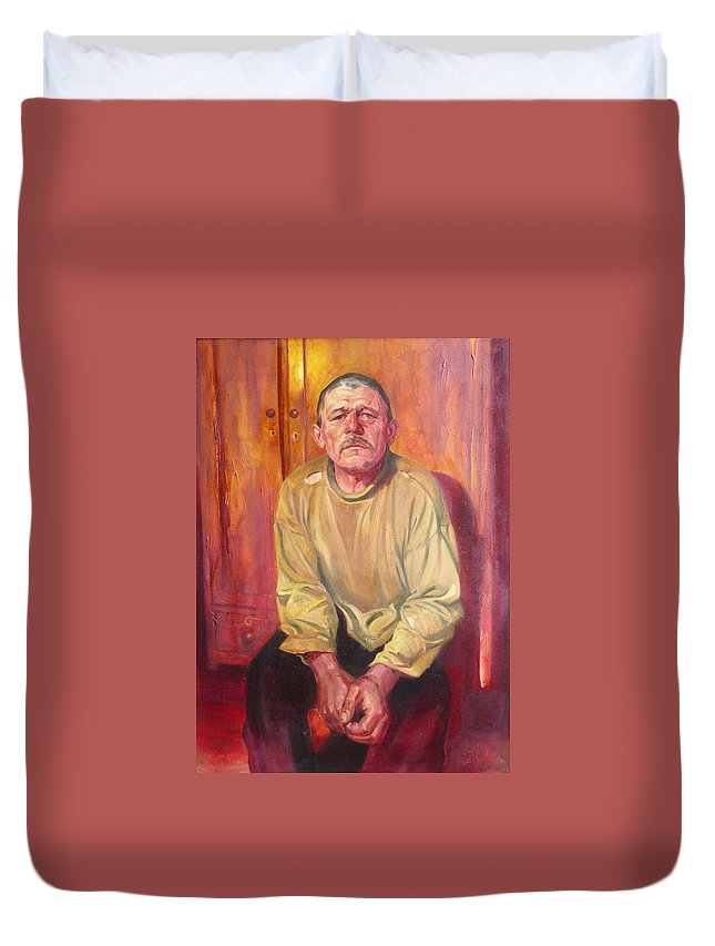 Oil Duvet Cover featuring the painting Inhabitant Of Chernobyl Zone by Sergey Ignatenko