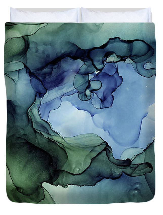 Ink Abstract Duvet Cover featuring the painting Ink Abstract Painting Blues Greens by Olga Shvartsur