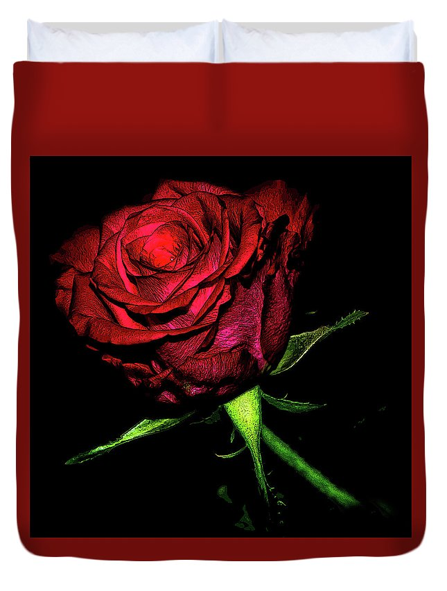Rose Duvet Cover featuring the digital art Inked Rose by Lee Pirie