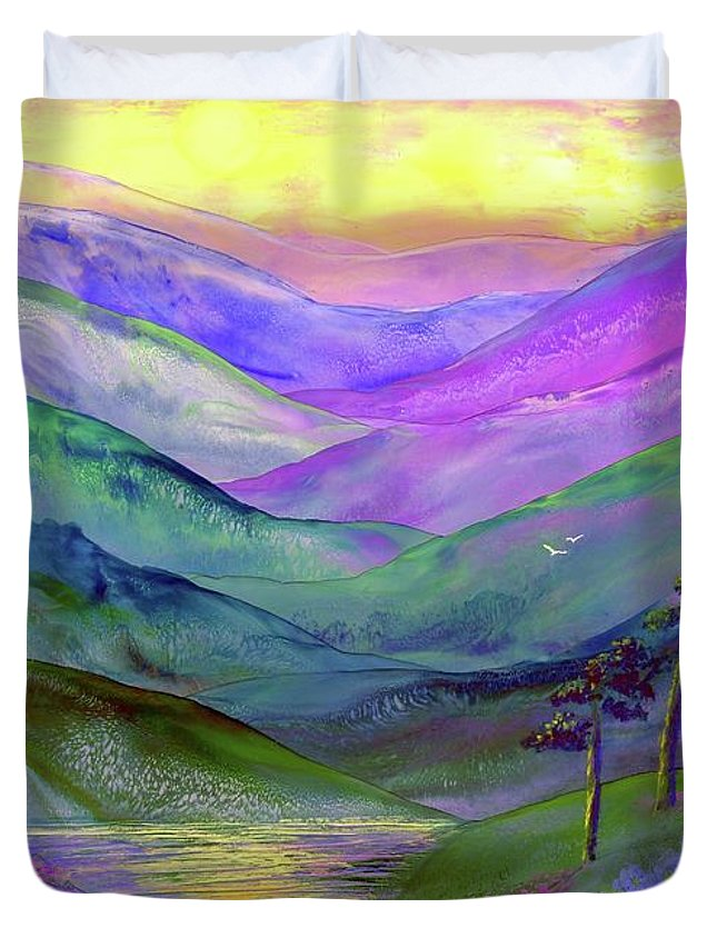 Meditation Duvet Cover featuring the painting Inner Flame, Meditation by Jane Small