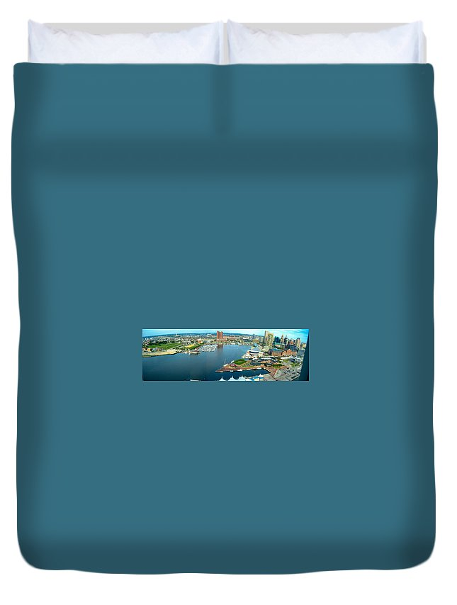 Baltimore Duvet Cover featuring the photograph Inner Harbor Baltimore Panorama by Thomas Marchessault