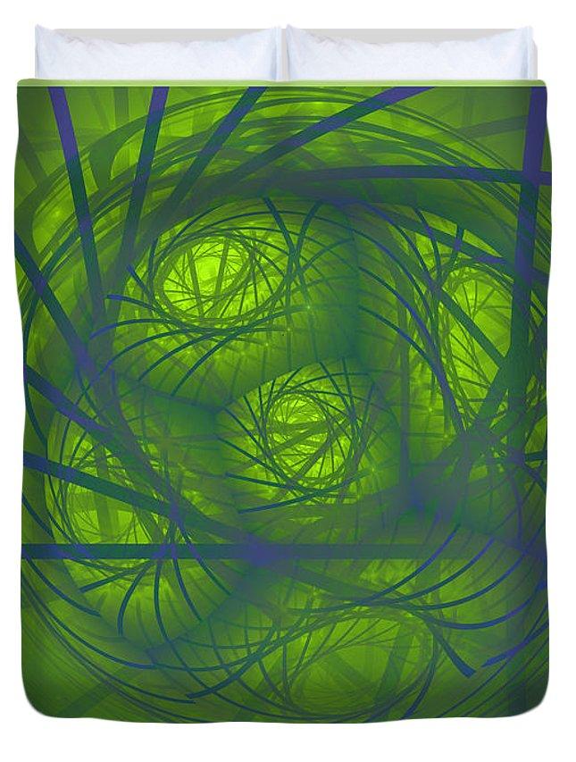 Digital Duvet Cover featuring the digital art Inner Light Spiral Sanctum by Deborah Benoit