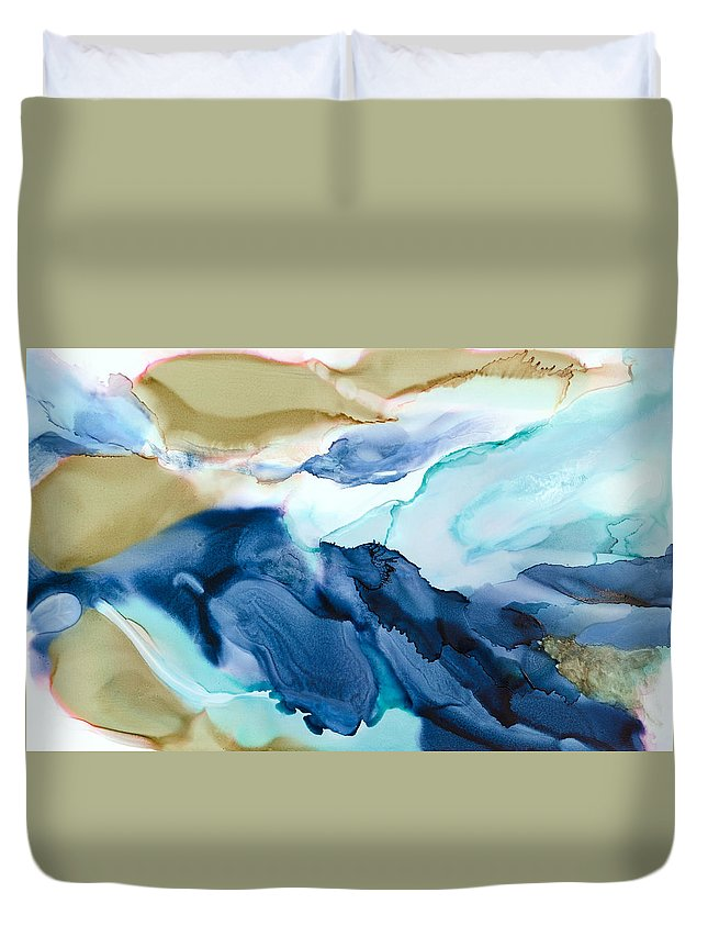 Abstract Duvet Cover featuring the painting Inner Worlds - A - by Sandy Sandy