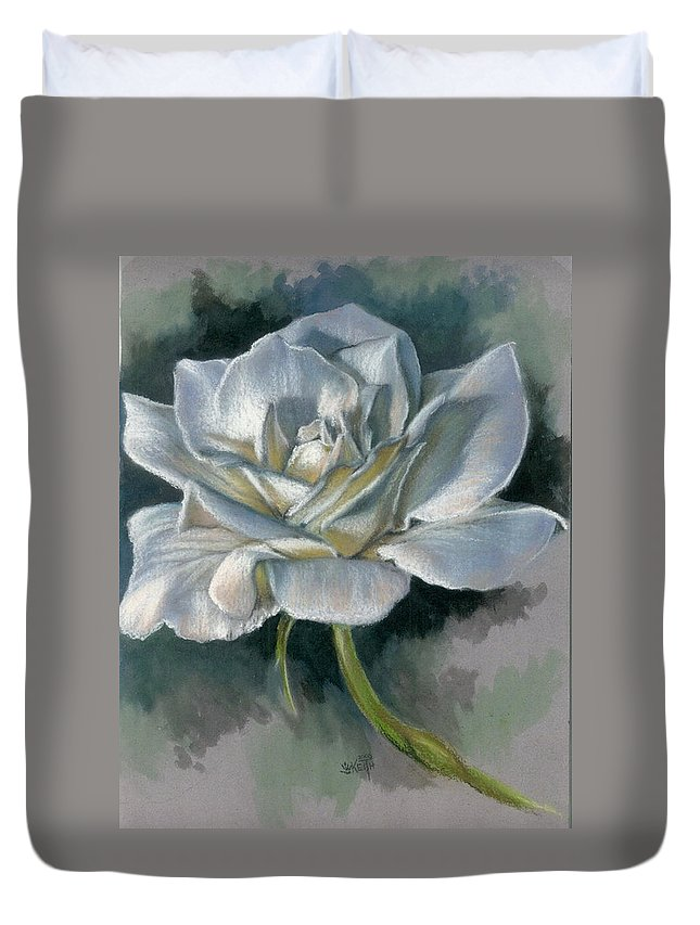 Rose Duvet Cover featuring the mixed media Innocence by Barbara Keith