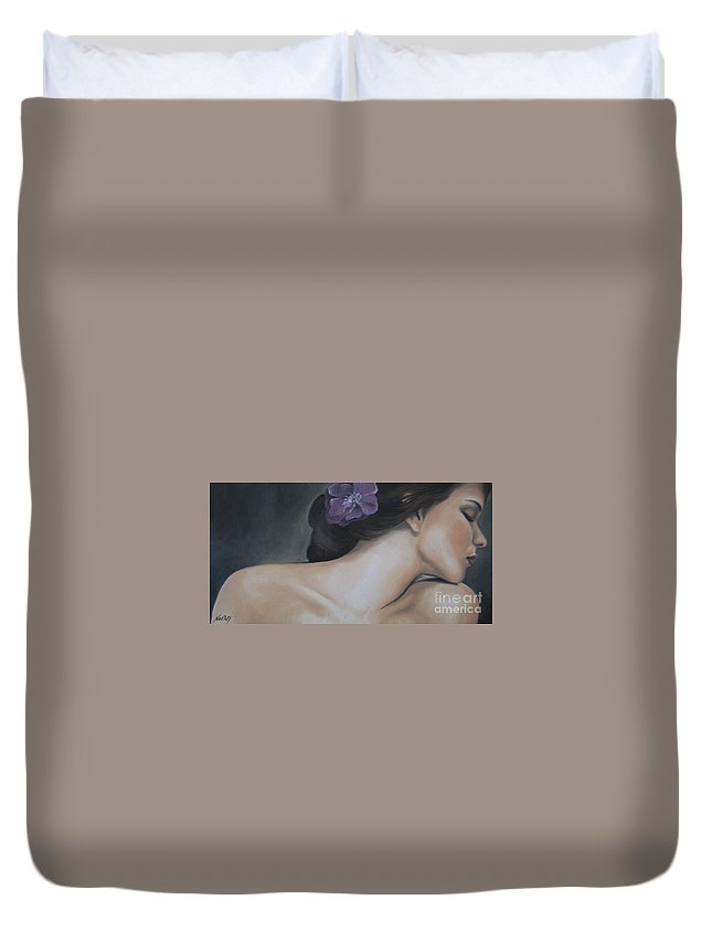 Noewi Duvet Cover featuring the painting Innocence by Jindra Noewi