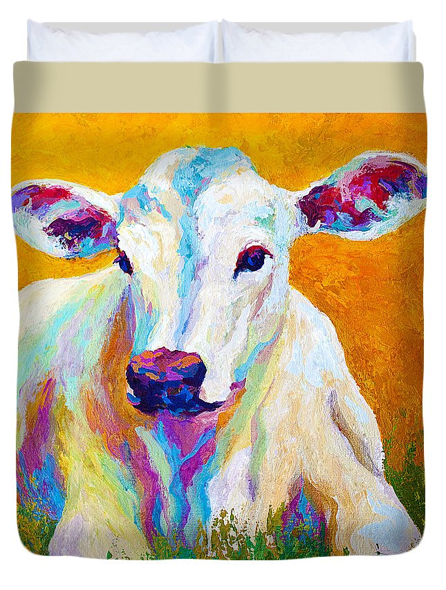 Cows Duvet Cover featuring the painting Innocence by Marion Rose