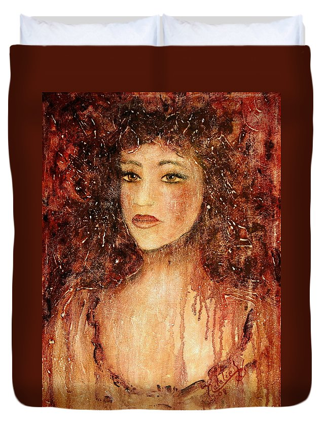 Innocence Duvet Cover featuring the painting Innocence by Natalie Holland