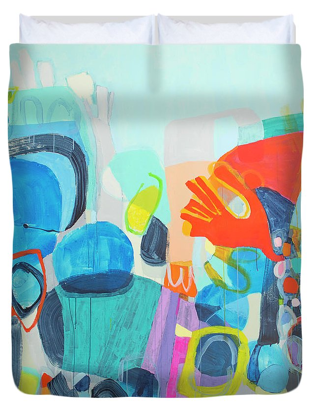 Abstract Duvet Cover featuring the painting Insatiable by Claire Desjardins