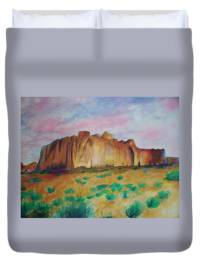 Western Landscapes Duvet Cover featuring the painting Inscription Rock by Eric Schiabor