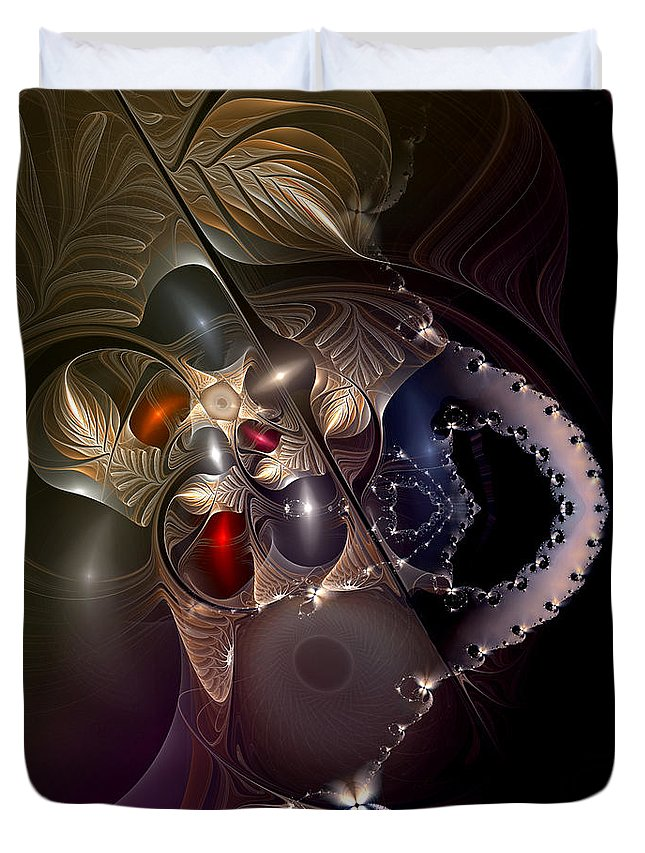 Abstract Duvet Cover featuring the digital art Insecurity Begets Fashion by Casey Kotas