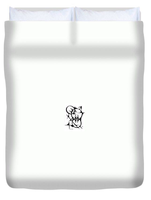 Modernist - Contemporany Duvet Cover featuring the drawing Insemination by Arides Pichardo