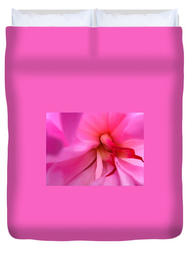Flower Duvet Cover featuring the photograph Inside A Peony by Rhonda Barrett