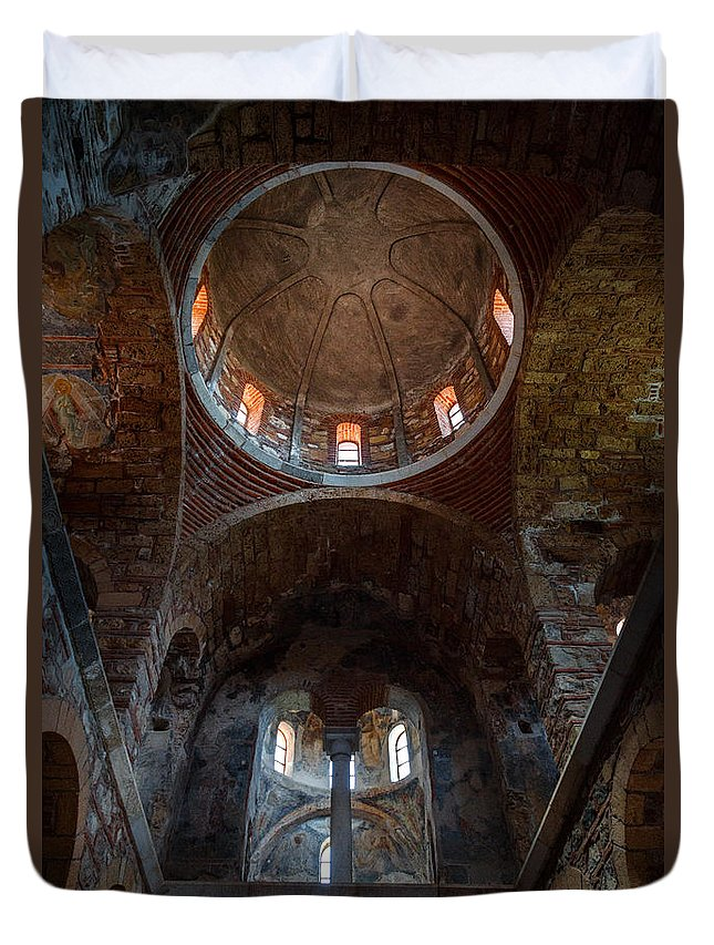 Photography Duvet Cover featuring the photograph Inside Of Mystras Church by Dvir Barkay