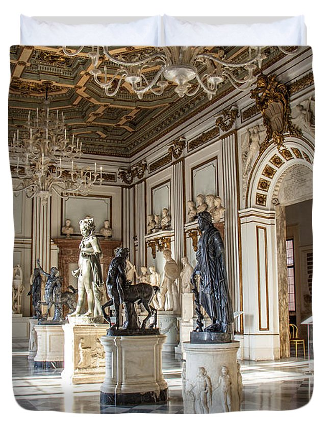 Architecture Greeting Cards Duvet Cover featuring the photograph Inside One Of The Rooms Of The Capitoline Museums In Rome, Italy by Svetlana Batalina