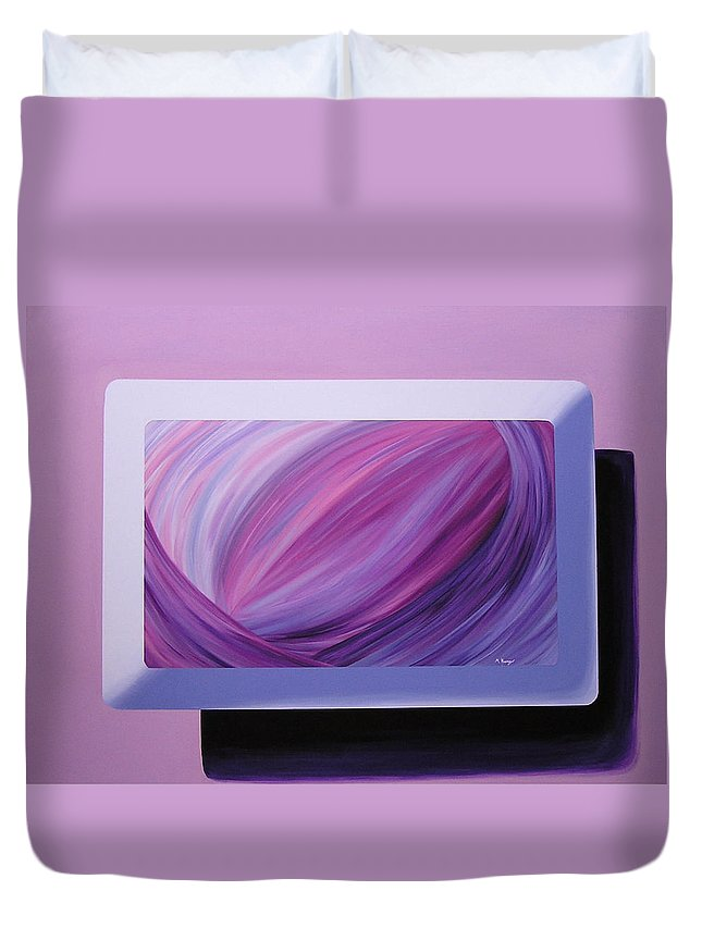 Original Duvet Cover featuring the painting Inside Purple by Melissa Joyfully