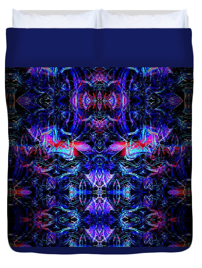 Abstract Duvet Cover featuring the digital art Inside The Electric Temple After Nightfall by Abstract Angel Artist Stephen K