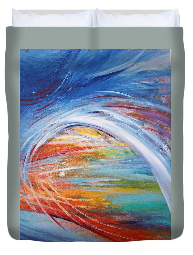 Abstract Duvet Cover featuring the painting Inside The Rainbow by Jan VonBokel