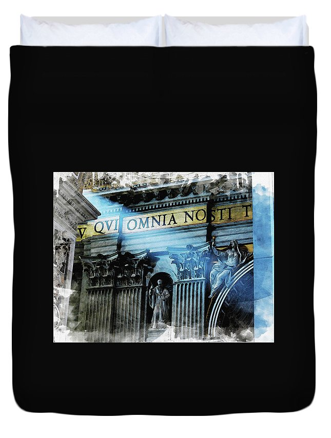 Vatican Duvet Cover featuring the digital art Inside The Vatican by Diana Van