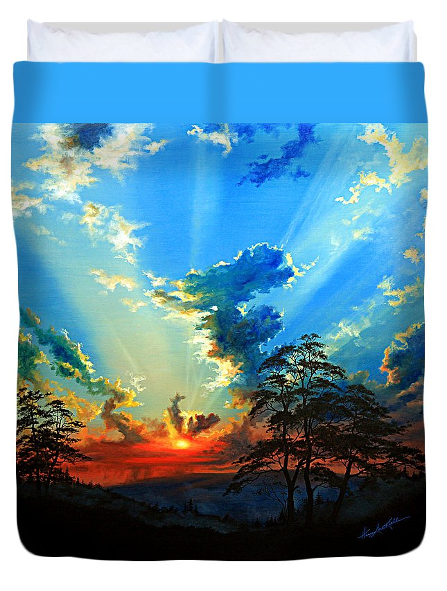 Sunset Duvet Cover featuring the painting Inspiration by Hanne Lore Koehler