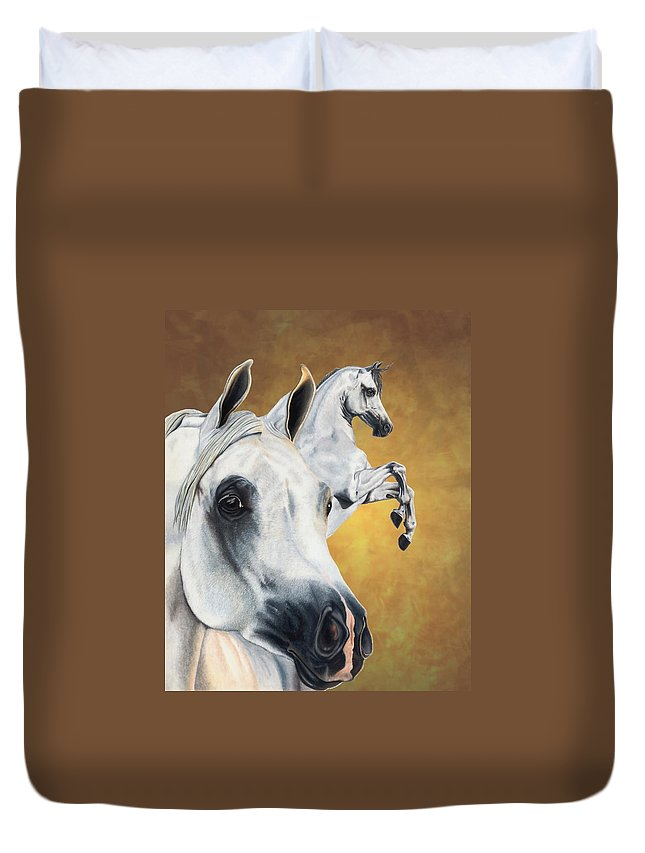 Horse Duvet Cover featuring the drawing Inspiration by Kristen Wesch
