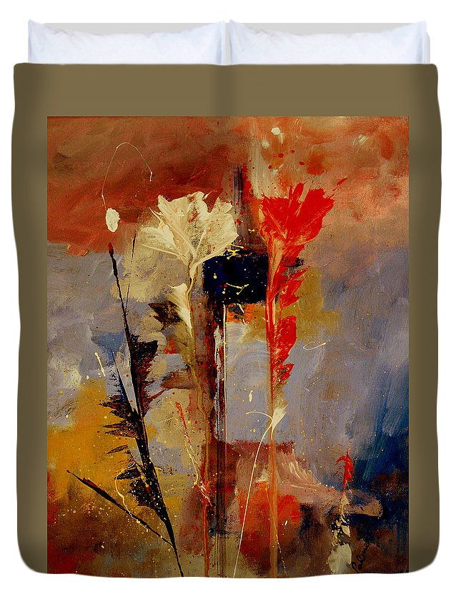Abstract Botanical Floral Flowers Color Red Pink Blue White Yellow Orange Purple Duvet Cover featuring the painting Inspire Me by Ruth Palmer