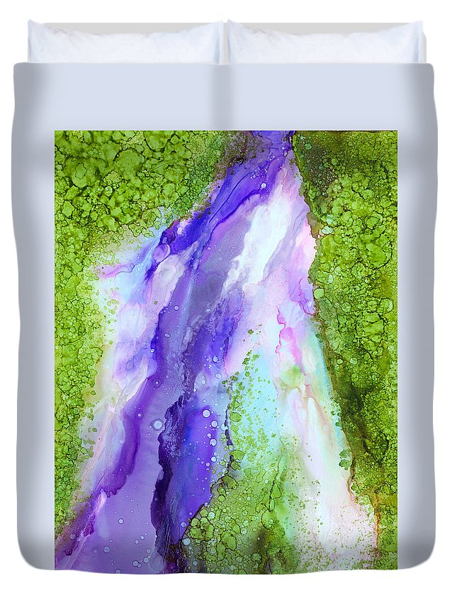 Abstract Duvet Cover featuring the painting Inspirit - A by Sandy Sandy