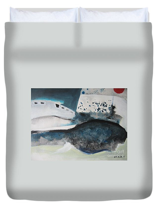 Abstract Paintings Duvet Cover featuring the painting Instead Of Explanation by Seon-Jeong Kim