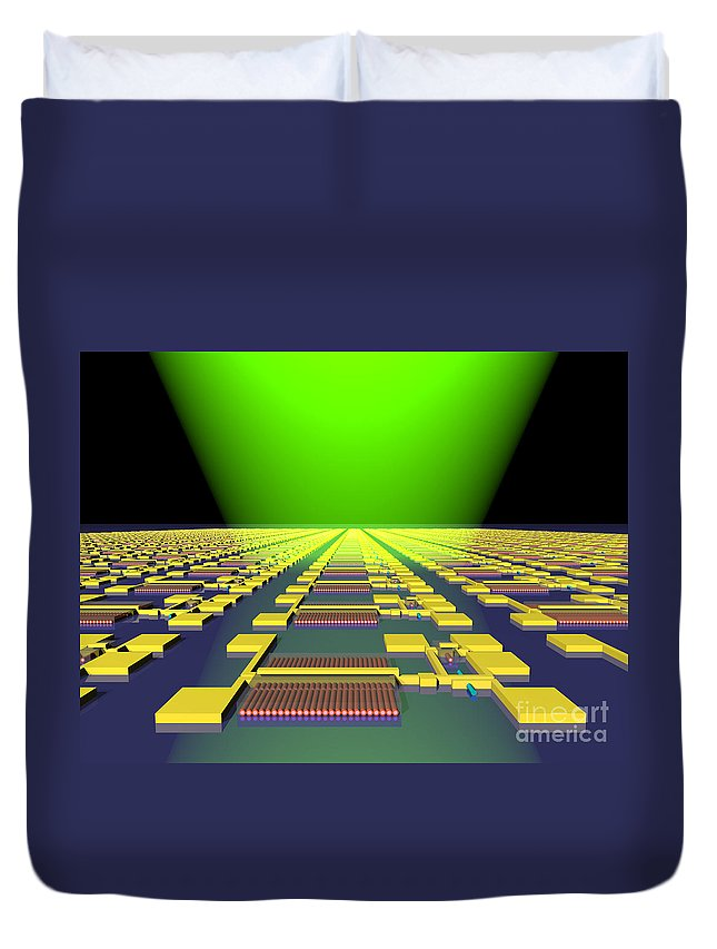 Science Duvet Cover featuring the photograph Integrated Nanowire Sensor Circuitry by Science Source