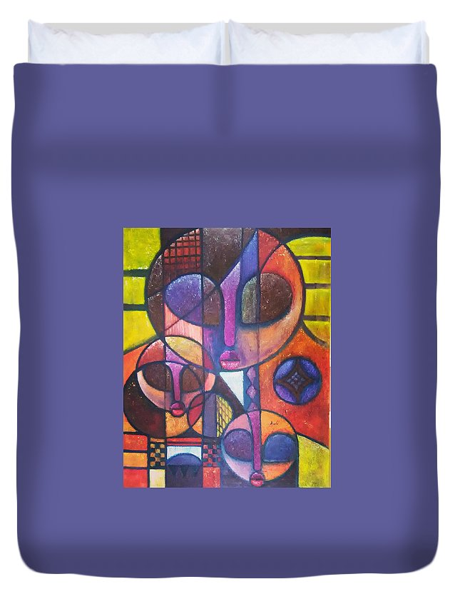 Abstract Duvet Cover featuring the painting Interdependence by Ankeli Christopher