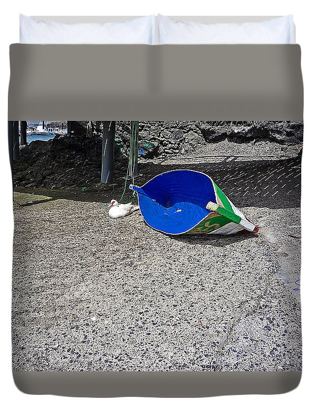 Boat Duvet Cover featuring the photograph Interior Blue by Charles Stuart
