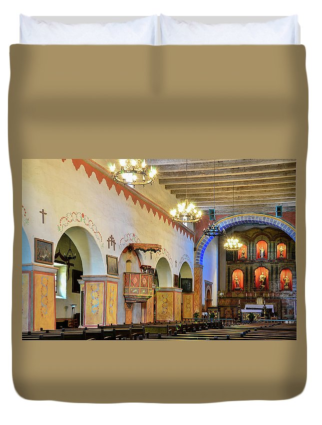 Landscape Duvet Cover featuring the photograph Interior Image Of San Juan Bautista Mission by Javier Flores