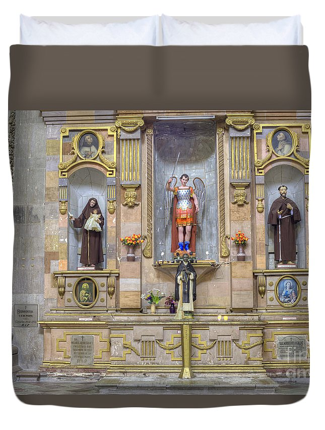 Decoration Duvet Cover featuring the photograph Interior View Of Church In Guanajuato Mexico by Juli Scalzi