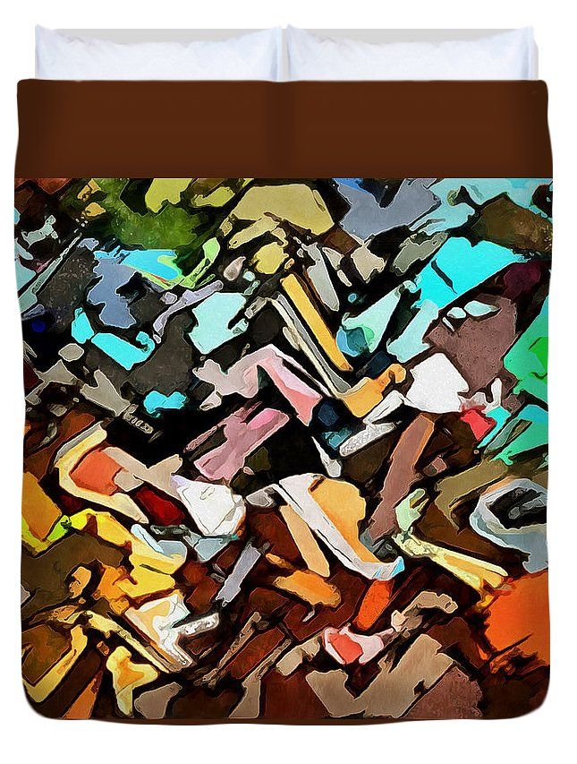 Abstract Duvet Cover featuring the digital art Intermittence by Galeria Trompiz