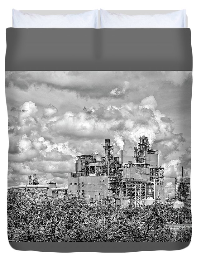 Architecture Duvet Cover featuring the photograph International Paper Company by Kathy Baccari