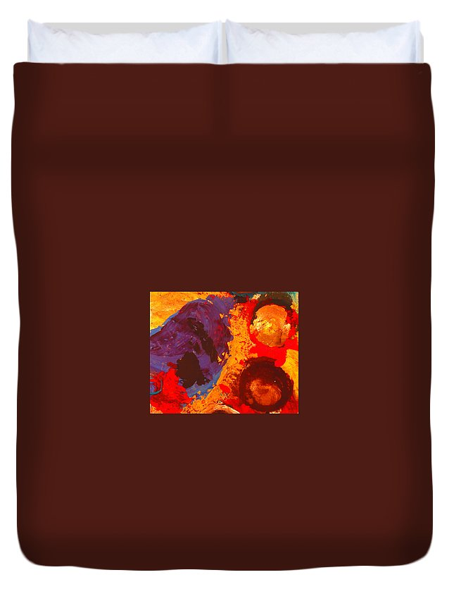 Abstract Duvet Cover featuring the painting Interplanetary Encounter by Natalie Holland
