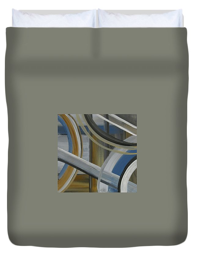 Abstract Duvet Cover featuring the painting Intersection In Blue 2 by Anita Burgermeister