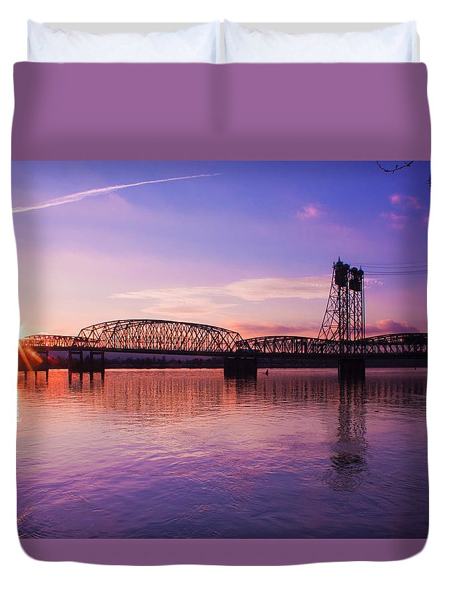 Interstate Bridge Duvet Cover featuring the photograph Interstate Bridge by Merrill Beck