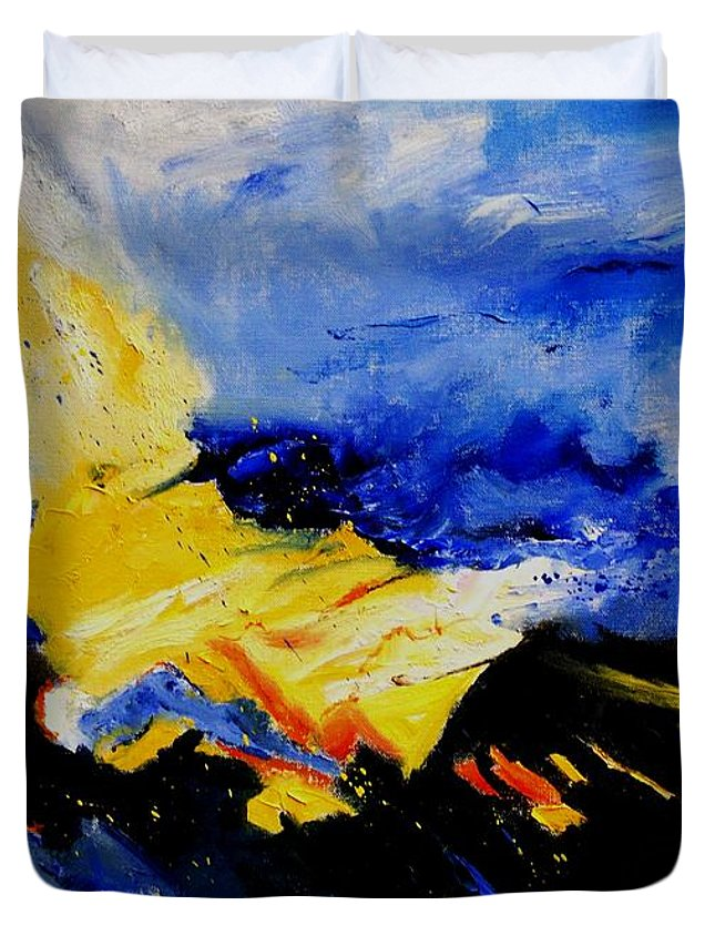 Abstract Duvet Cover featuring the painting Interstellar Overdrive 2 by Pol Ledent