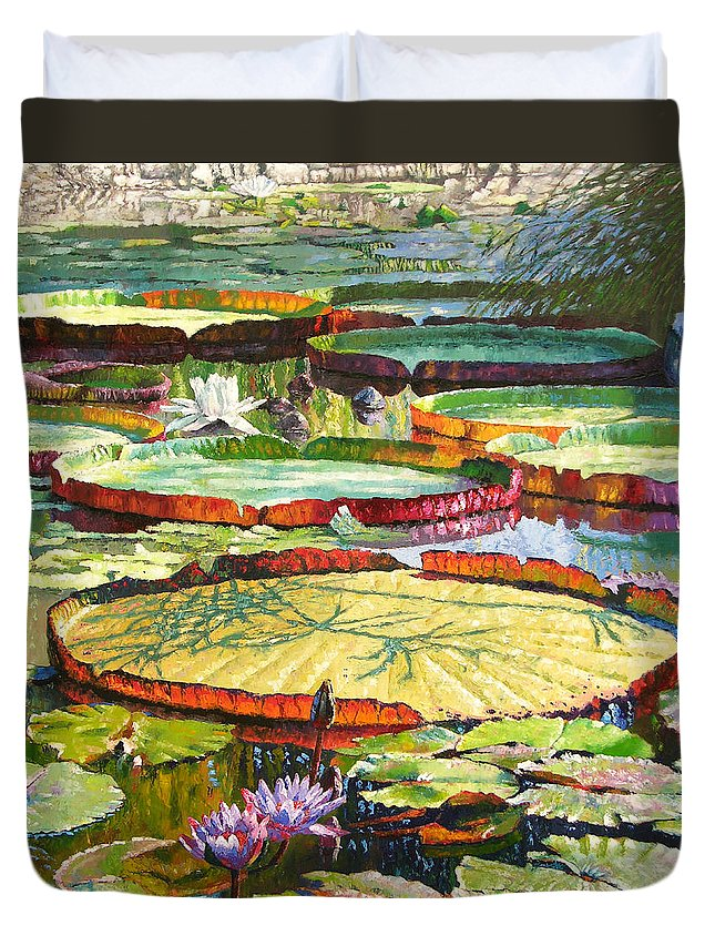 Garden Pond Duvet Cover featuring the painting Interwoven Beauty by John Lautermilch