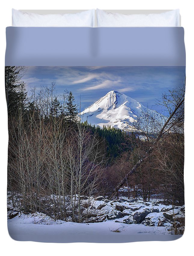 Volcano Duvet Cover featuring the photograph Intimate Hood by John Christopher